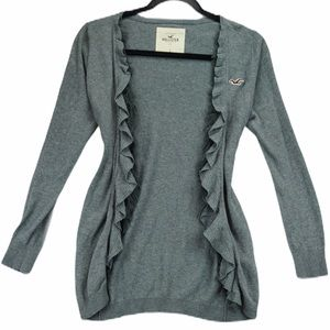 Hollister small grey cardigan with fringe